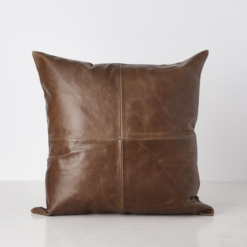 200522 Bates Design Product Shots0761 brown leath pillow